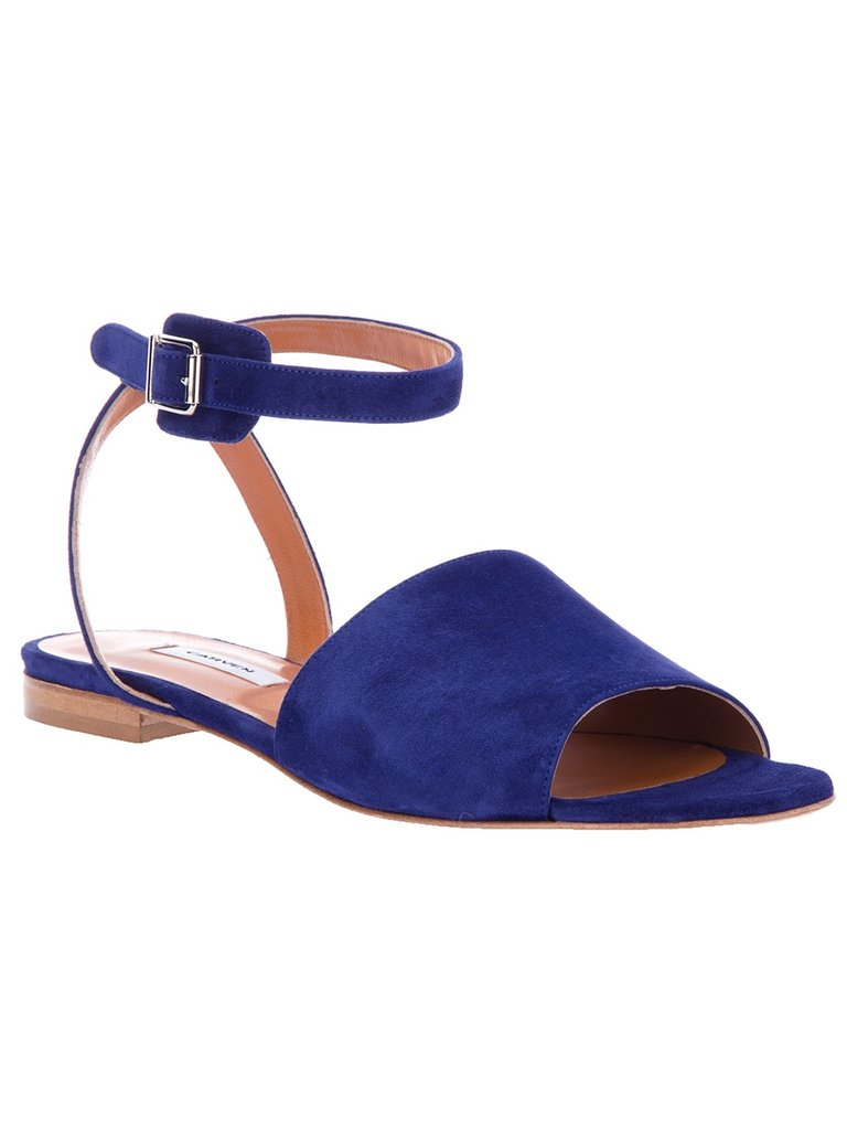 Looking to incorporate a bold blue into your wardrobe? This cool Carven ankle-strap sandal is a slick way to do so. Carven Open-Toe Sandals ($404)
