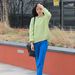 This cool combo caught our attention with standout shades of lime green and cobalt blue.