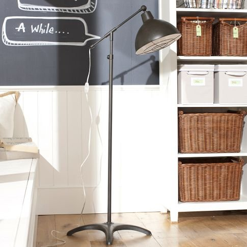 Choose floor lamps that have the character of smaller desk lamps, like this cool Industrial Floor Lamp ($200).