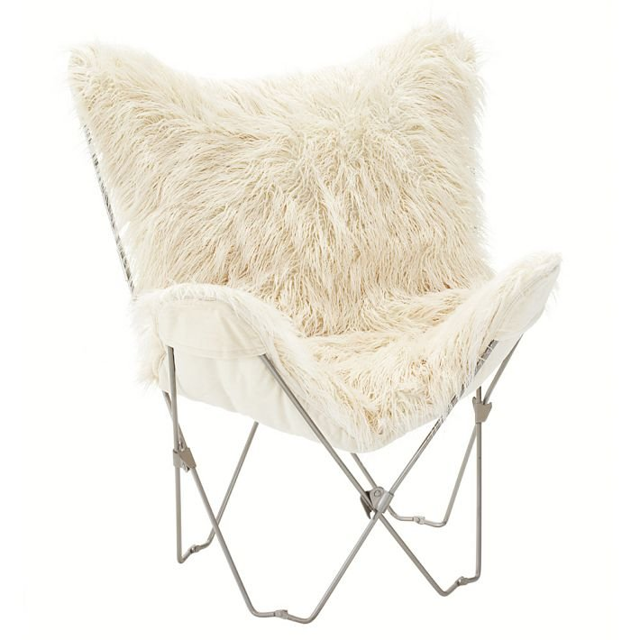 Sort of a mod hybrid, this Furlicious Butterfly Chair ($35-$64) combines fabulous white shag with an iconic seating silhouette.