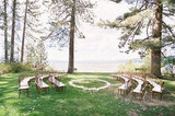 If you're in the midst of gorgeous scenery, then why not try a ceremony in the round? Not only will your guests get a unique view, but you'll also be (literally) surrounded by your loved ones during that special moment. Photo by Jose Villa via Style Me Pretty