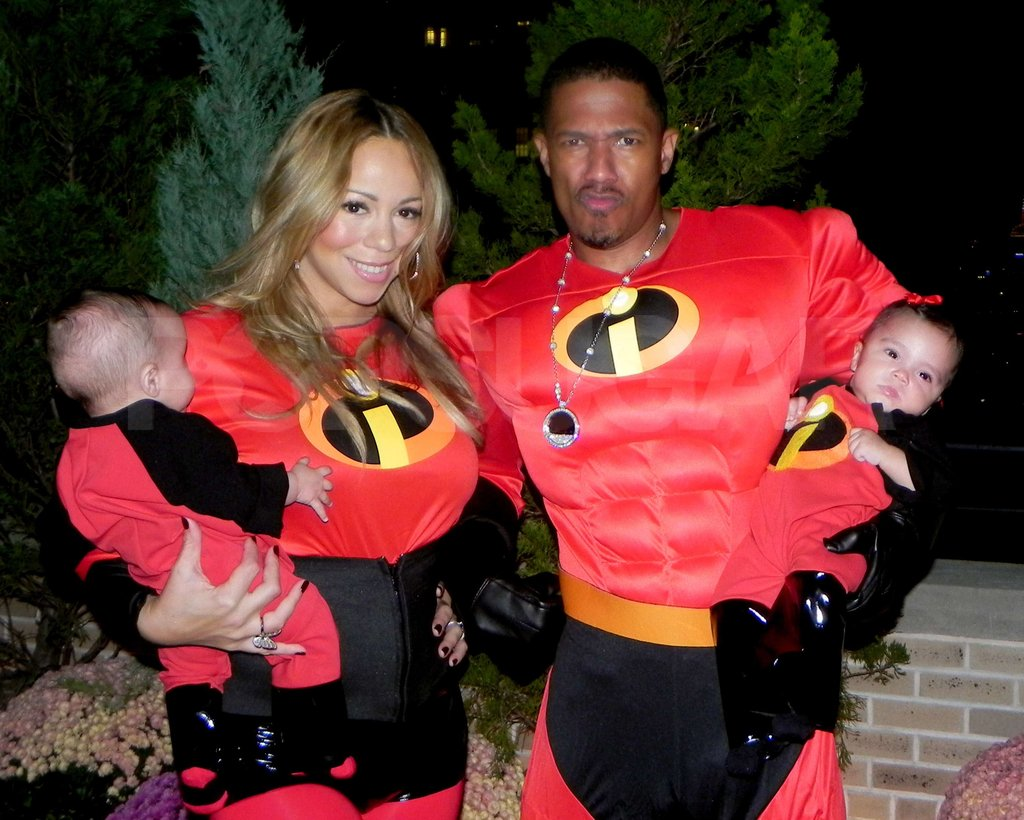 Mariah Carey and Nick Cannon took their twins Monroe Cannon and Moroccan Cannon trick-or-treating for their first Halloween in 2011 dressed as The Incredibles.