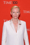 Tilda Swinton wore an all-white ensemble to the Time 100 gala in NYC.