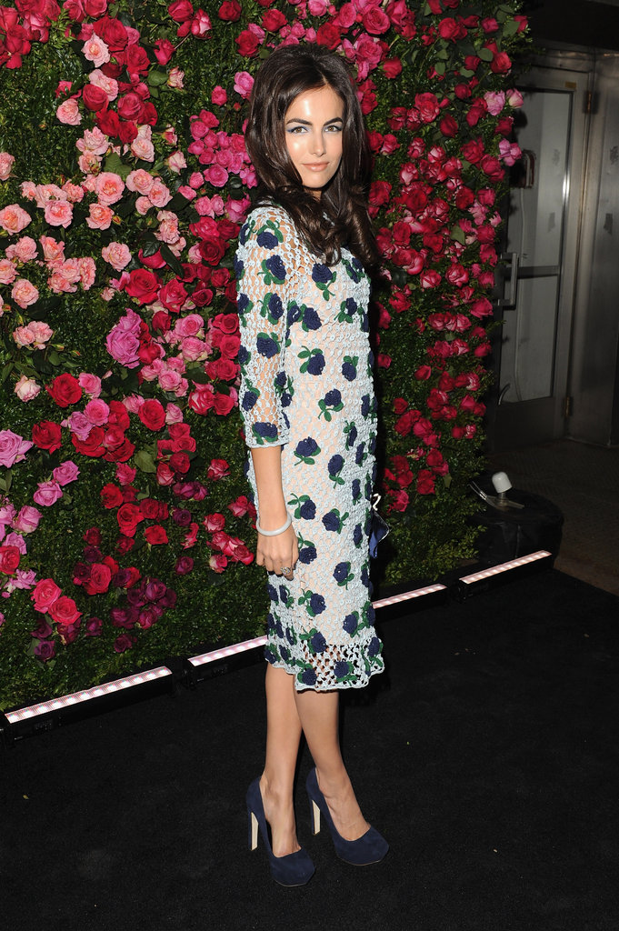 Camilla Belle wore a mesh floral print dress to the Chanel dinner party at the 2012 Tribeca Film Festival.