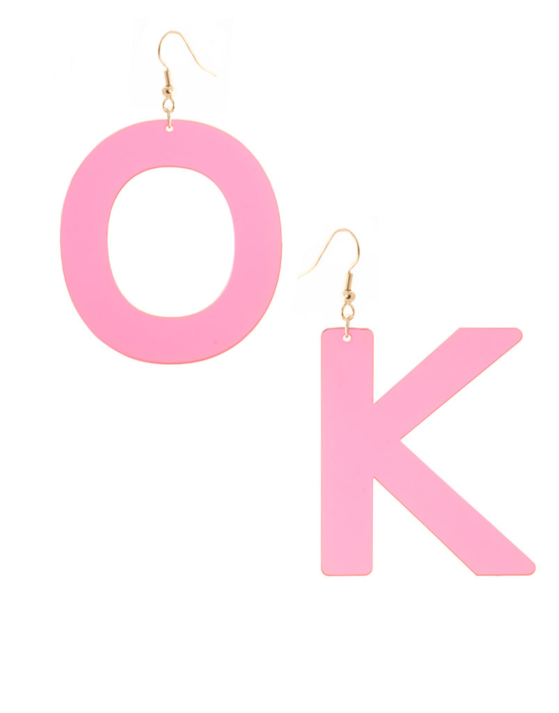 Try not to get too much attention when wearing these lucite earrings, OK?  ASOS Perspex OK Letter Earrings ($18)