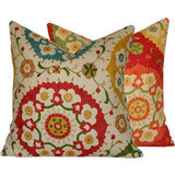 Made with a screenprinted floral Richloom Cornwall designer fabric, this cover offers two looks in one! The Decorative Pillow Case ($57) has complementary fabrics on each side, so you can change the look by simply flipping it over.