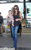Victoria Beckham left Hong Kong with daughter Harper Beckham.