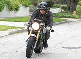 Ryan Reynolds rode his motorcycle in LA.