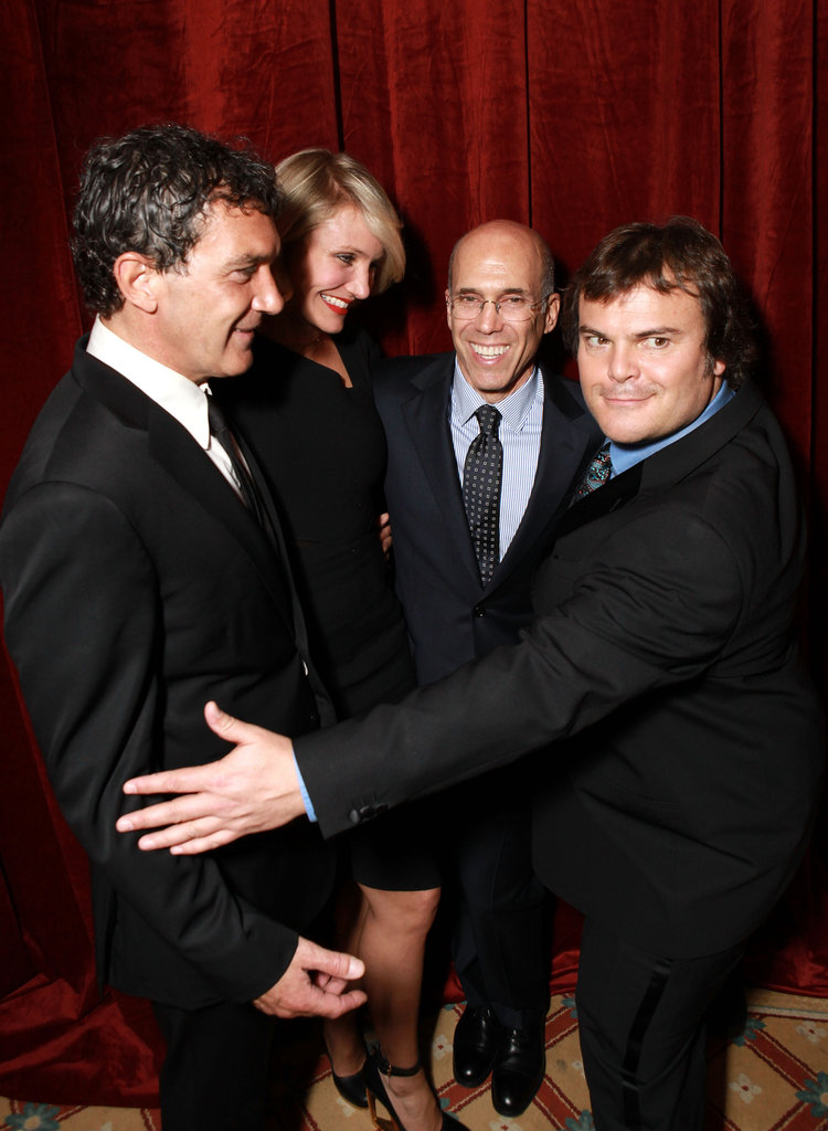 Antonio Banderas, Cameron Diaz, and Jack Black surrounded Jeffrey Katzenberg at a dinner in his honor at CinemaCon in Las Vegas.