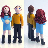 The designer used polymer clay to create the Star Trek bride and groom cake toppers ($135). We especially love the uniform details and the bride's voluminous, curly hair.