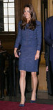 Kate wore a blue tweed Rebecca Taylor skirt suit with a snakeskin Anya Hindmarch clutch for a royal reception this week.