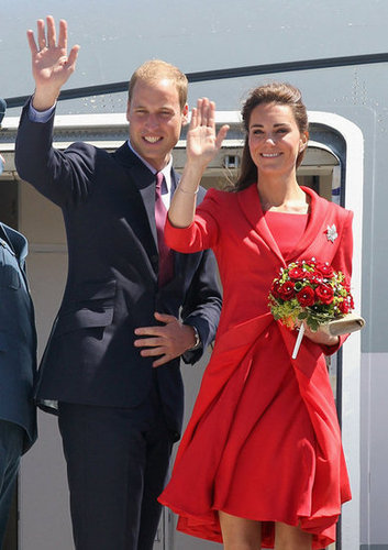 Her red Catherine Walker dress and matching red blazer were a striking daytime hit as they said goodbye to Canada in July 2011.