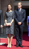 During the royal duo's tour through North America, Kate wore a blue lacy Erdem dress and beige LK Bennett pumps for a morning prayer service in Quebec City.