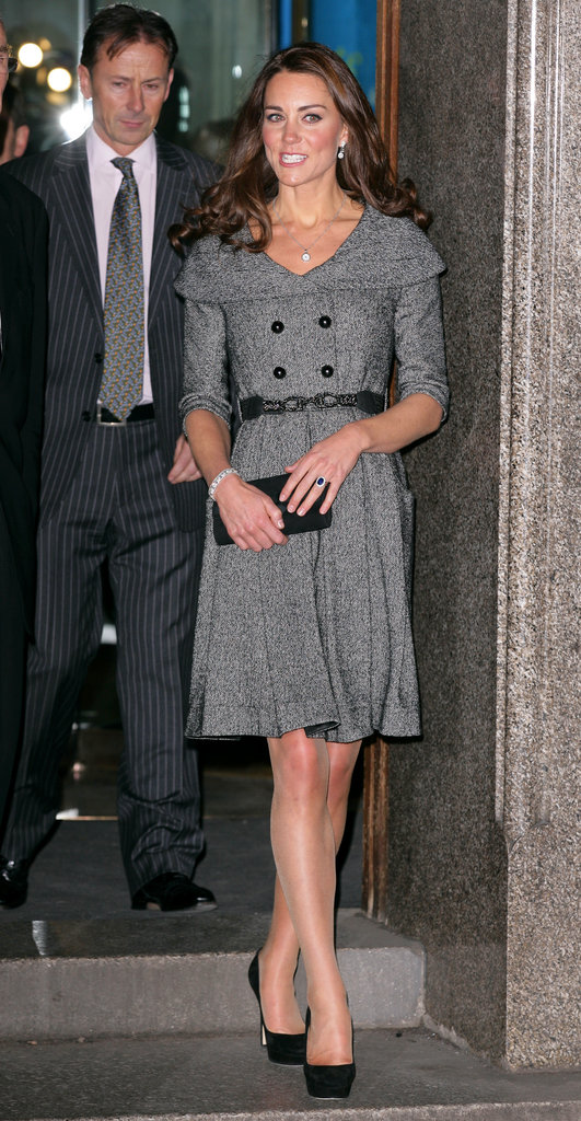 Kate was spotted leaving the National Portrait Gallery after attending the Lucian Freud Portraits exhibition in February 2012. She wore a gray Jesire coat dress and Jimmy Choo black pumps.