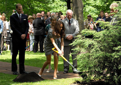 Prince William and Kate helped during a tree-planting ceremony in Ottawa in July 2011. She wore a Catherine Walker gray dress and Tabitha Simmons pumps for the event.
