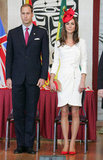Kate chose a white Reiss dress, a red maple-leaf fascinator by Sylvia Fletcher for Lock & Company, Albini red pumps, and a cool Anya Hindmarch clutch for an event at Ottowa's Canadian Museum of Civilization in July 2011.