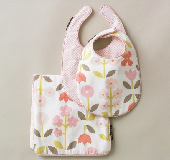 For Baby Girl: Dwell Studio Rosette Blossom Bibs/Burp Set