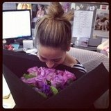 Estee Lauder sent us some beautiful roses, which were promptly snapped-up by Birthday-girl-to-be Marisa.