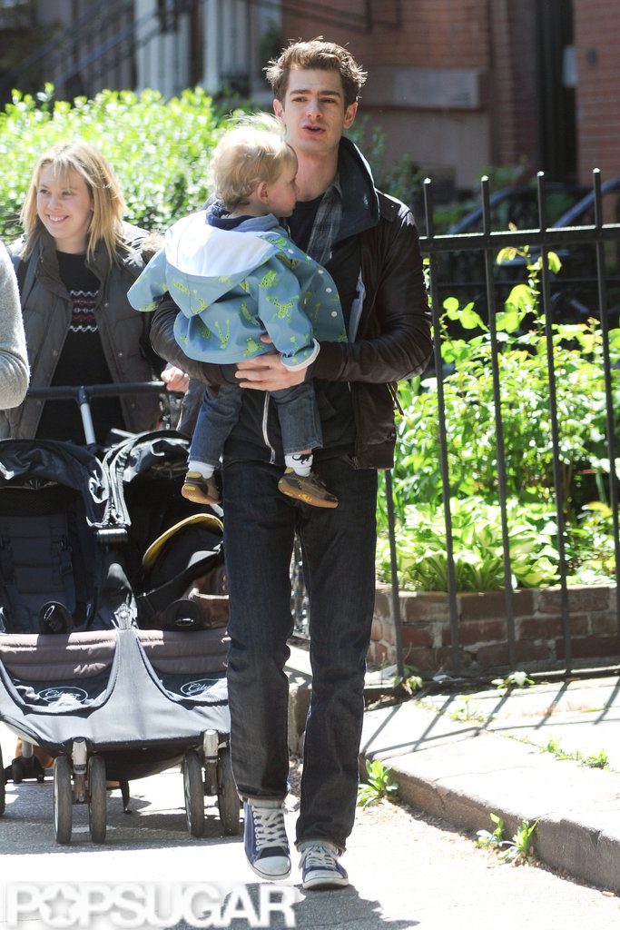 Andrew Garfield picked up his friend's son on the way to breakfast in NYC.