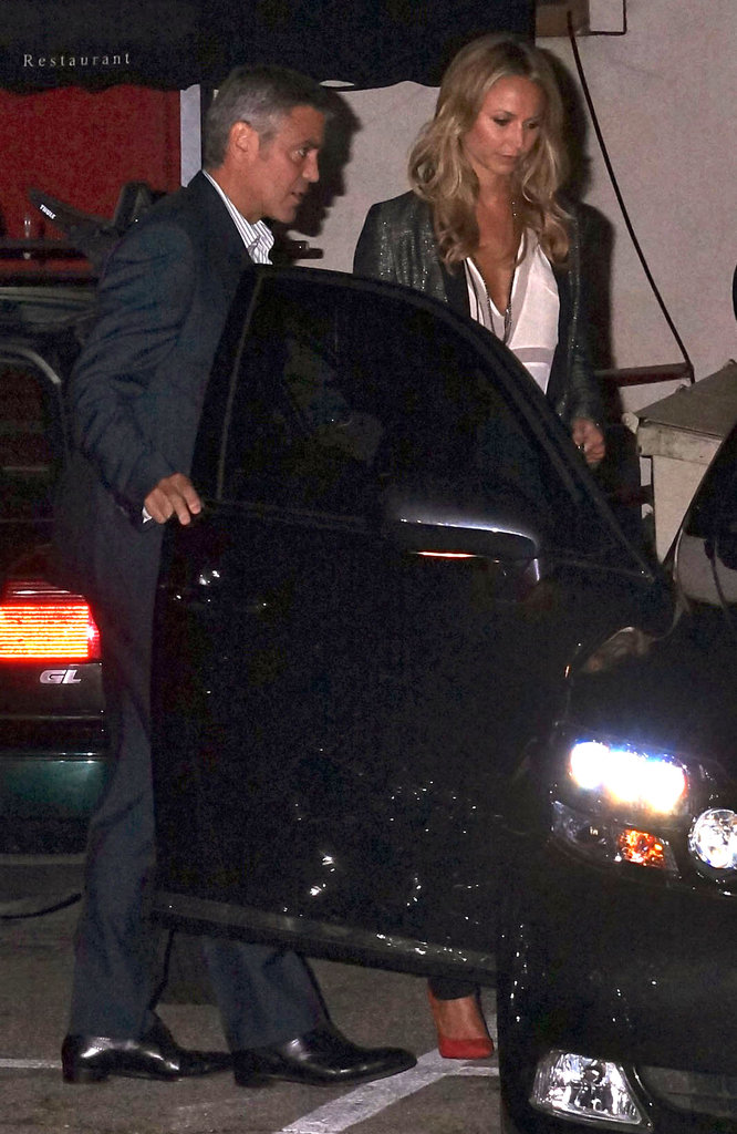 George Clooney opened the door for Stacy Keibler as they headed home from having dinner with Cindy Crawford and Rande Gerber in LA.