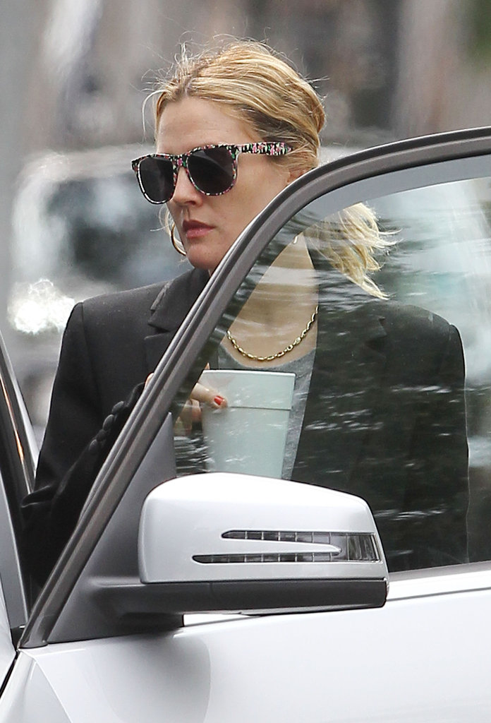 Drew Barrymore got into her car after leaving her LA office.