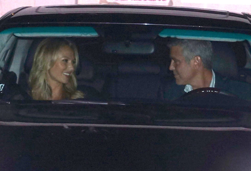 George Clooney and Stacy Keibler shared a laugh in the car after leaving a dinner date with Cindy Crawford and Rande Gerber in LA.
