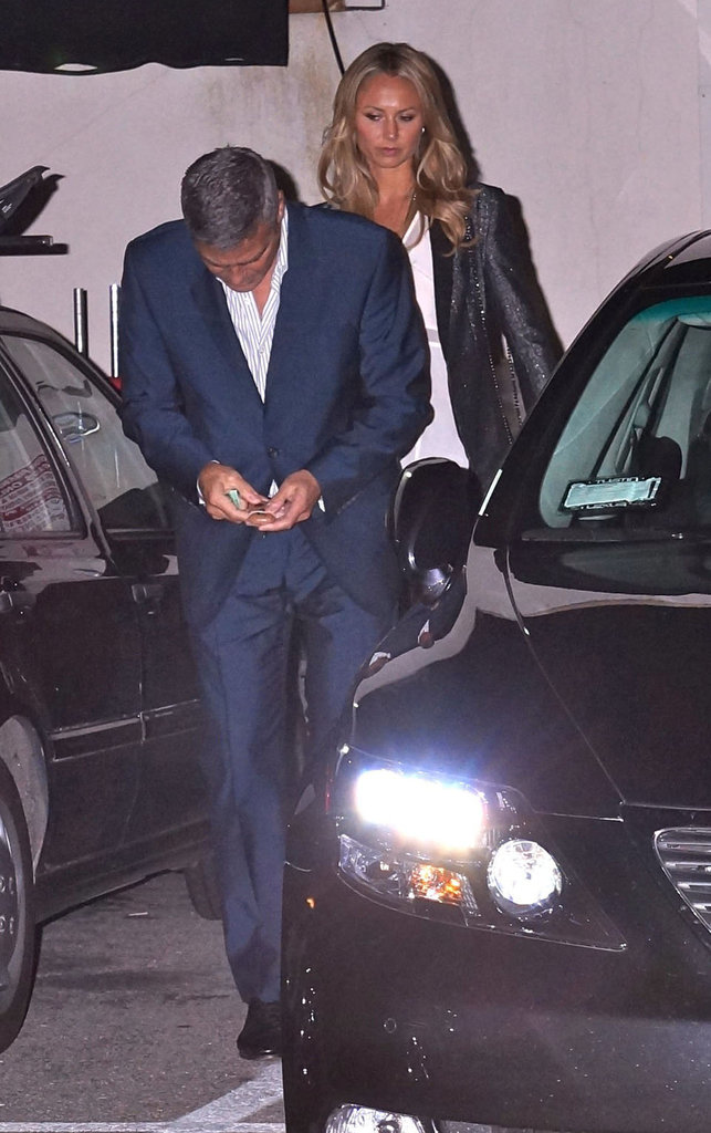 George Clooney and Stacy Keibler left the restaurant after having dinner with good friends Cindy Crawford and Rande Gerber in LA.