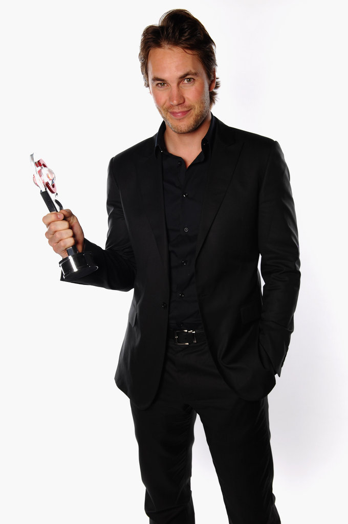 Taylor Kitsch accepted the male star of tomorrow award at the CinemaCon awards ceremony.