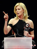 Charlize Theron gave an acceptance speech after being awarded the distinguished decade of achievement in film award at the CinemaCon awards ceremony in Las Vegas.