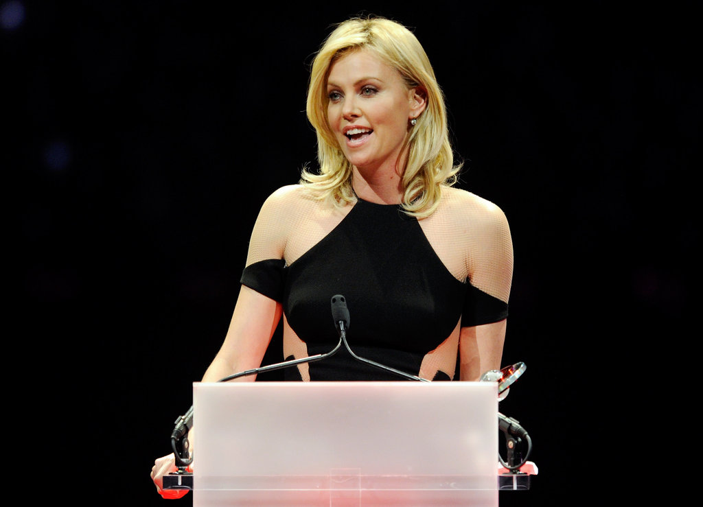 Charlize Theron was on stage to accept the distinguished decade of achievement in film award at the CinemaCon awards ceremony in Las Vegas.