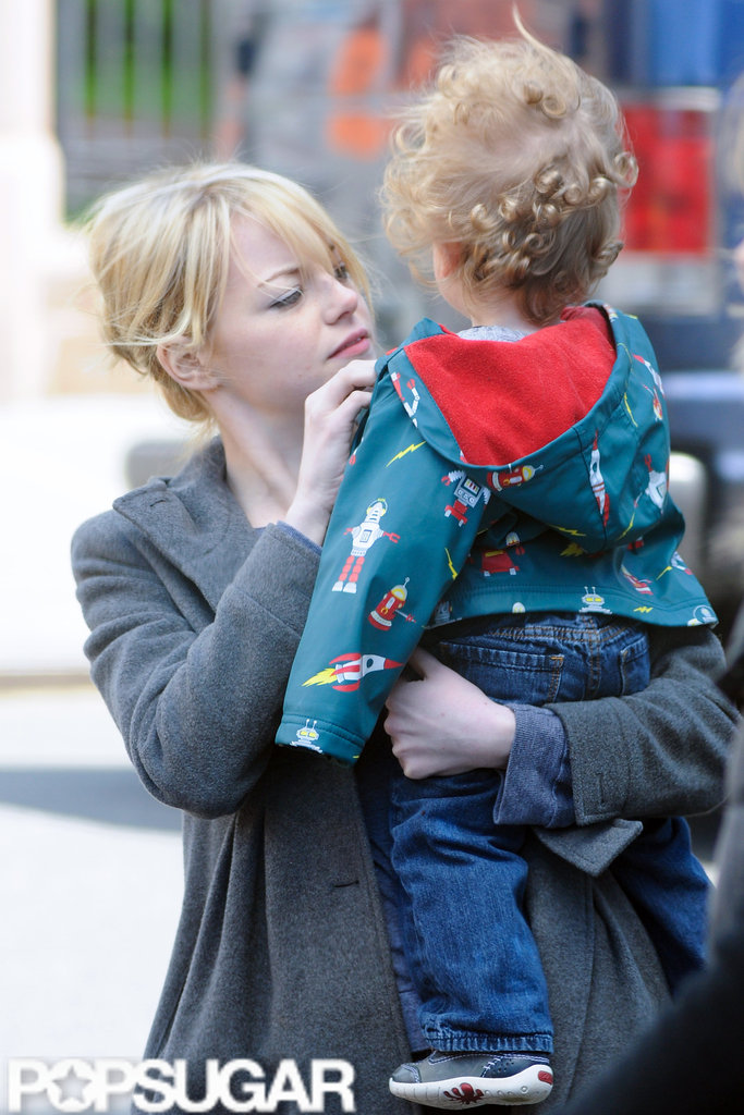 Emma Stone got motherly with a friend's son in NYC.