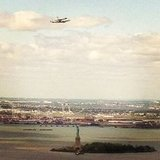 Space shuttle Enterprise flies over the Statue of Liberty.  Source: Instagram User maggierose