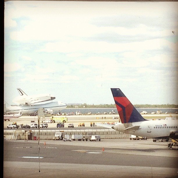 Space shuttle Enterprise lands at JFK. Source: Instagram User kmtepe