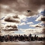 Space shuttle Enterprise over New York City.  Source: Instagram User santiagoloo