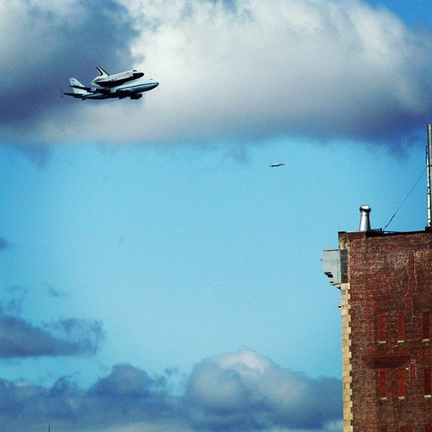 Space shuttle Enterprise over New York City.  Source: Instagram User alexander_stein