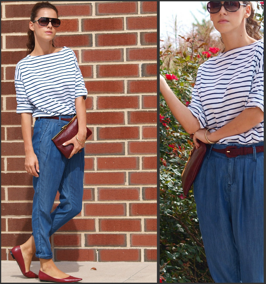 Riff on the classic nautical color palette by injecting a darker version of red.  Photo courtesy of Lookbook.nu
