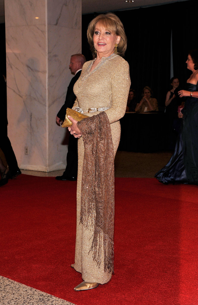 Barbara Walters looked elegant on the red carpet at the White House Correspondant's Dinner.
