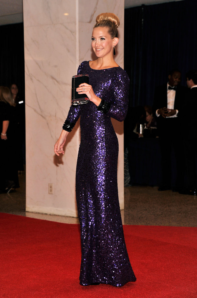Kate Hudson Hits the White House Dinner Red Carpet in Purple Sequins