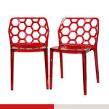 An affordable option, the Geometric Chairs ($170) are stackable and feature a honeycomb-like seatback.