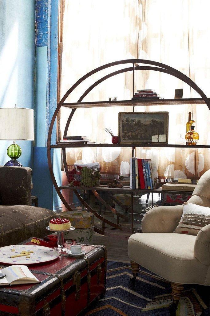Unusual for a bookcase, the round design of the Kansai Bookcase ($1,300) is made from iron and mango wood shelves.
