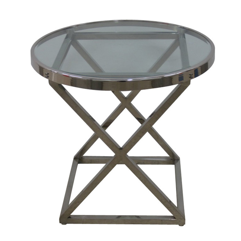 This Industrial End Table ($1,850) incorporates triangles, squares, and rectangle openings and a circular top with round beveled glass.