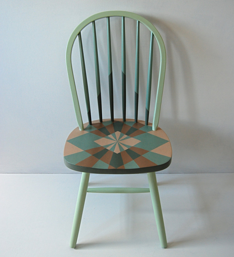 This Handpainted Geometric Chair ($150) would be perfect in a modern, artsy country kitchen.