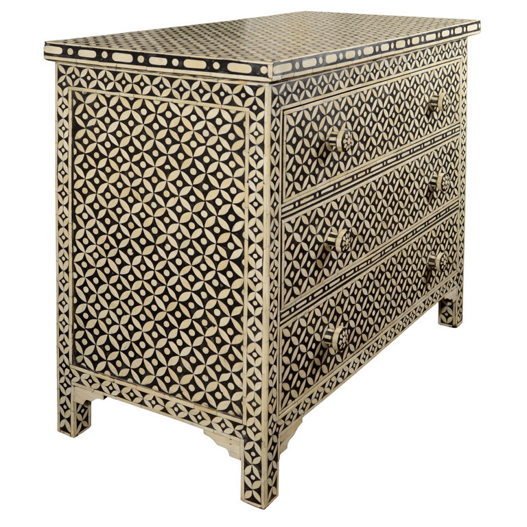 The Indian Black and White Bone Bureau ($2,400) is a folksier take on the geometric trend.