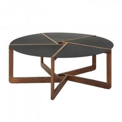 The Pi Coffee Table ($600) is made from slices of black powder-coated steel and solid walnut.