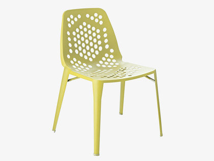 The Dillan Outdoor Chair ($234) is made of powder-coated steel with hexagon-shaped cutout detailing on the seat and back.