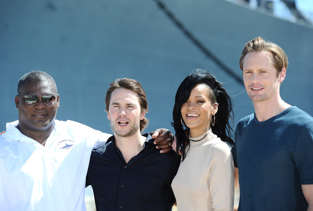 The cast posed for photos in front of a Pearl Harbor memorial.