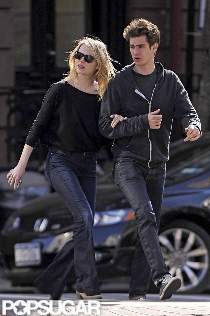 Emma Stone and Andrew Garfield stayed close during a walk around the West Village in NYC.