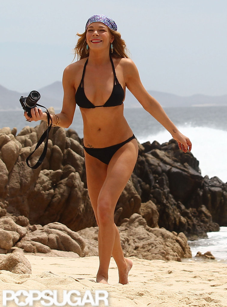 LeAnn Rimes hit the beach in Cabo in a black bikini.