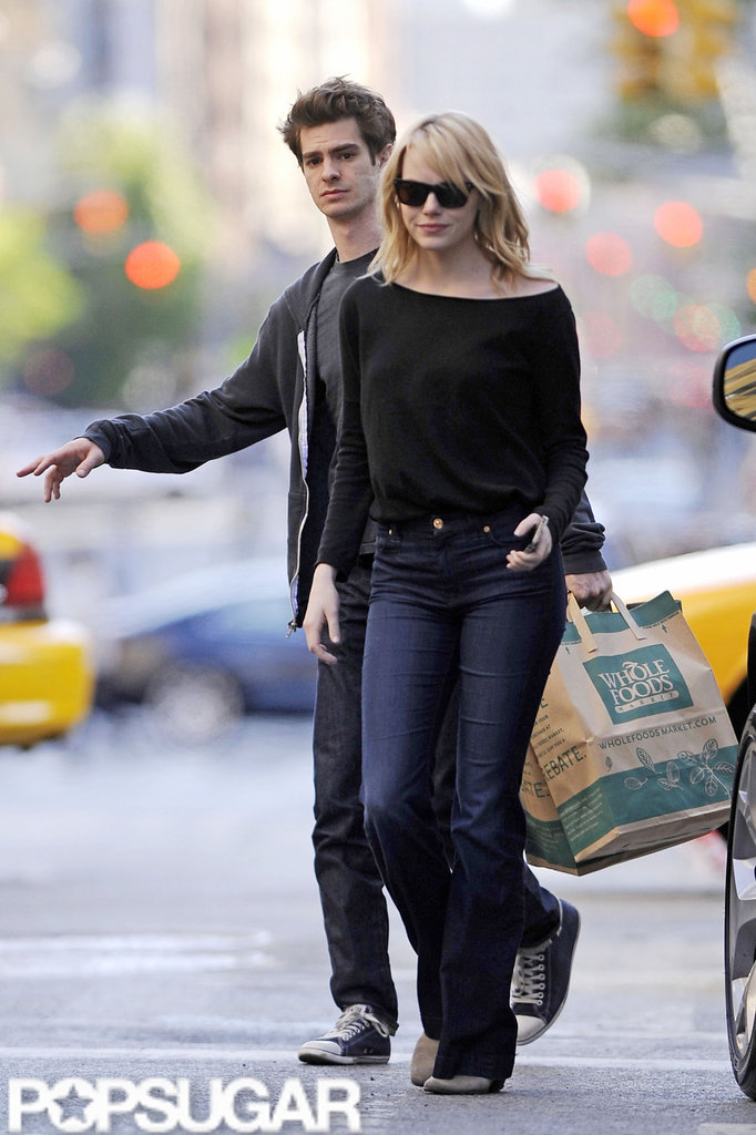 Emma Stone and Andrew Garfield stopped at a Whole Foods in NYC.