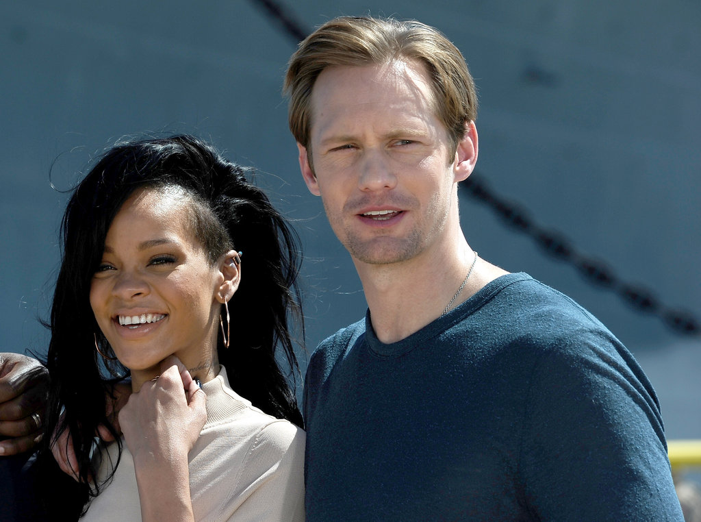 Rihanna and Alexander Skarsgard were all smiles for the group photo.